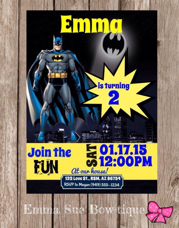 Batman Personalized Birthday Invitation By EmmaSueBowtique