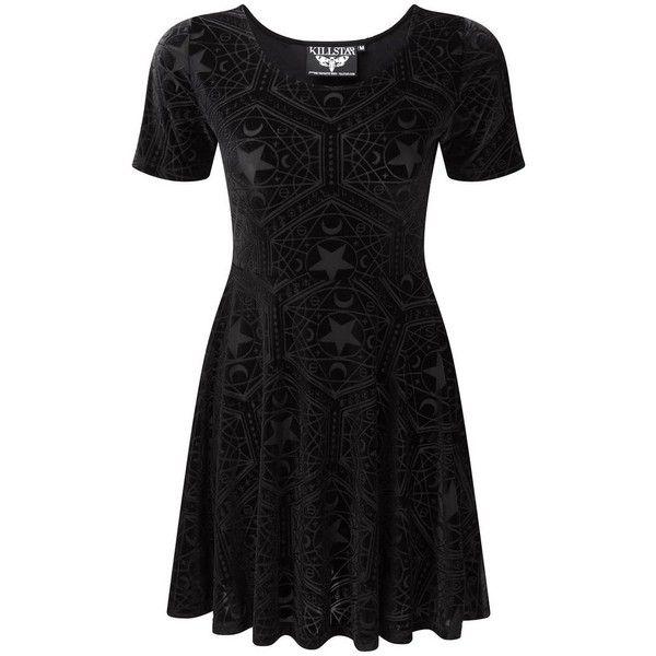 Stargazer Velvet Skater Dress [B] ❤ liked on Polyvore featuring dresses, round neckline dress, star print dress, fitted dresses, fitted skater dress and starry dress