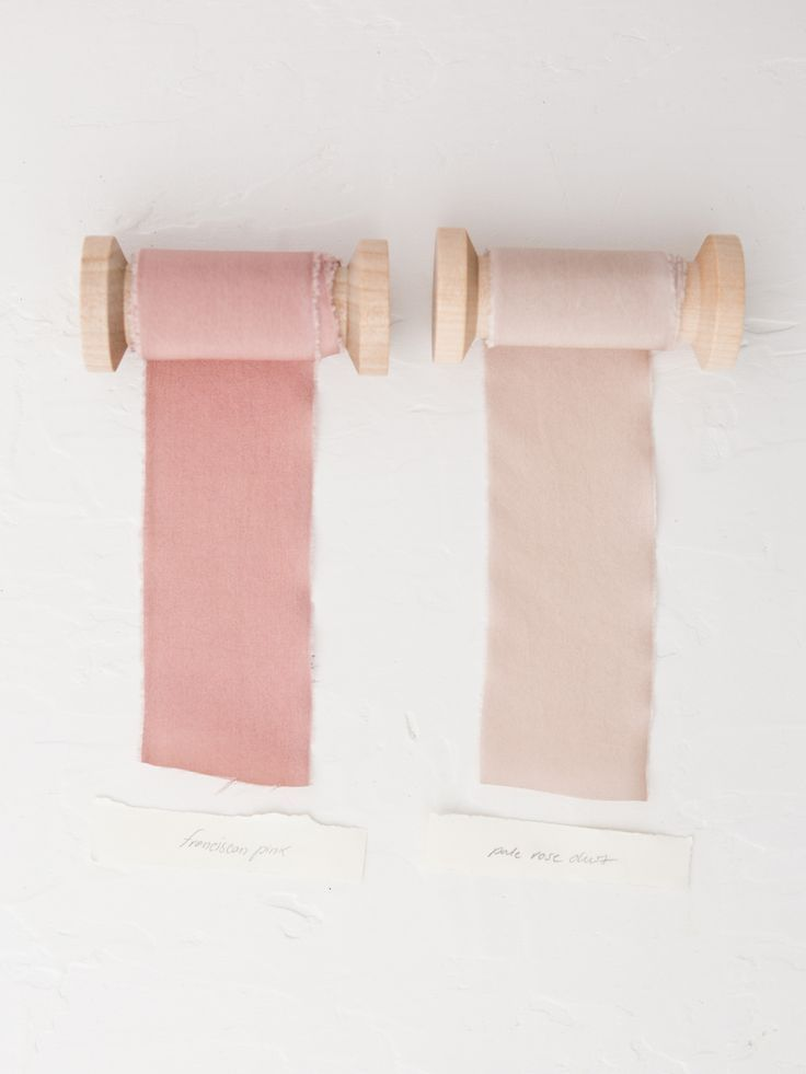 """A lighter shade of Franciscan Pink. Our ribbons are made of a light silk habotai and dyed in small batches from a unique blend of pigments to create subtle and complex shades. They're then hand torn, frayed and spooled for an organic, soft feel. Ribbons are created in 3 yard lengths: each .5"""" a"""