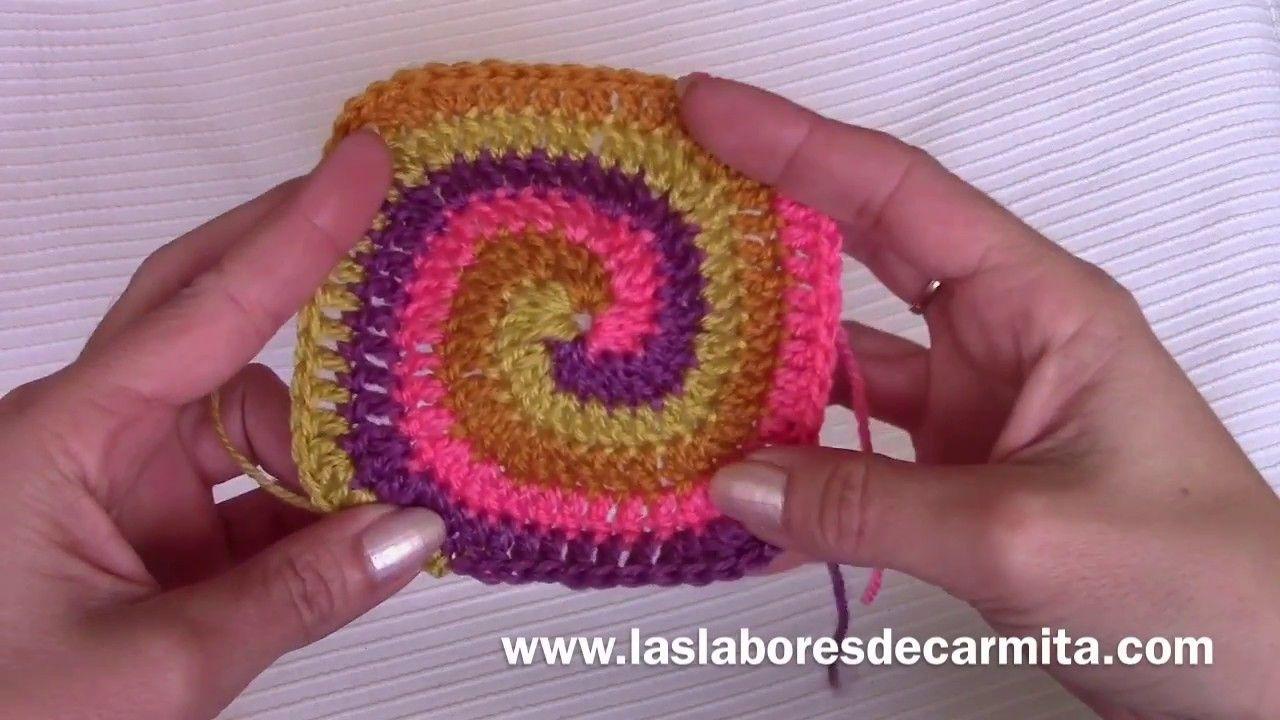 Crochet tutorial cuadrado en espiral paso a paso | Espirales ...