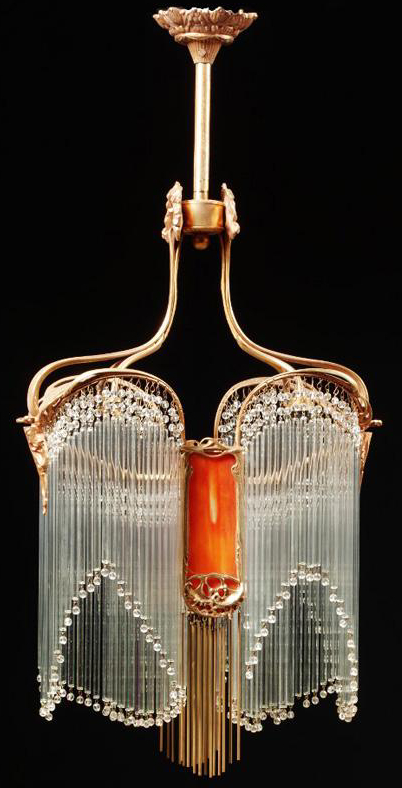 Hector guimard pair of art nouveau gilt bronze and glass chandeliers hector guimard pair of art nouveau gilt bronze and glass chandeliers aloadofball Image collections