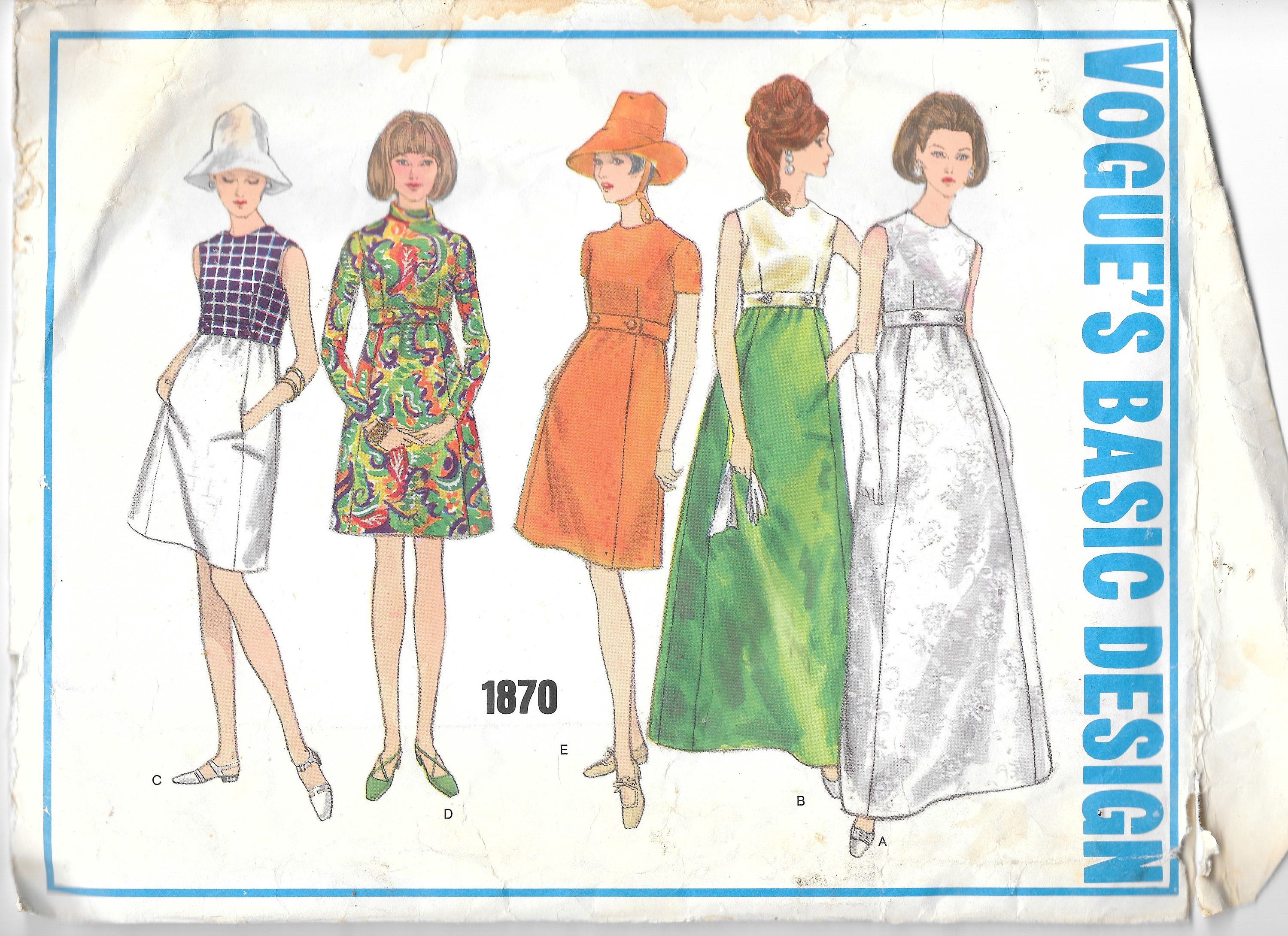 """Vintage Vogue 1870 High Waisted Evening or Knee Length Basic Dress Sewing Pattern Size 8 Bust 31 1/2"""" by SinclairsStuff on Etsy"""