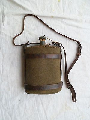 A WW1 British Army cavalry type water bottle in leather