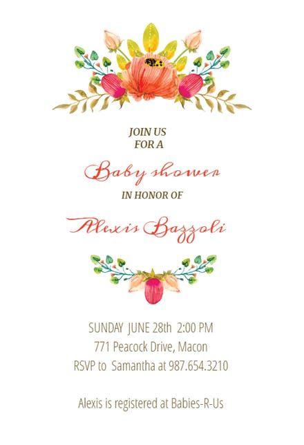 Flowers Crown  Baby Shower    Free Baby Shower