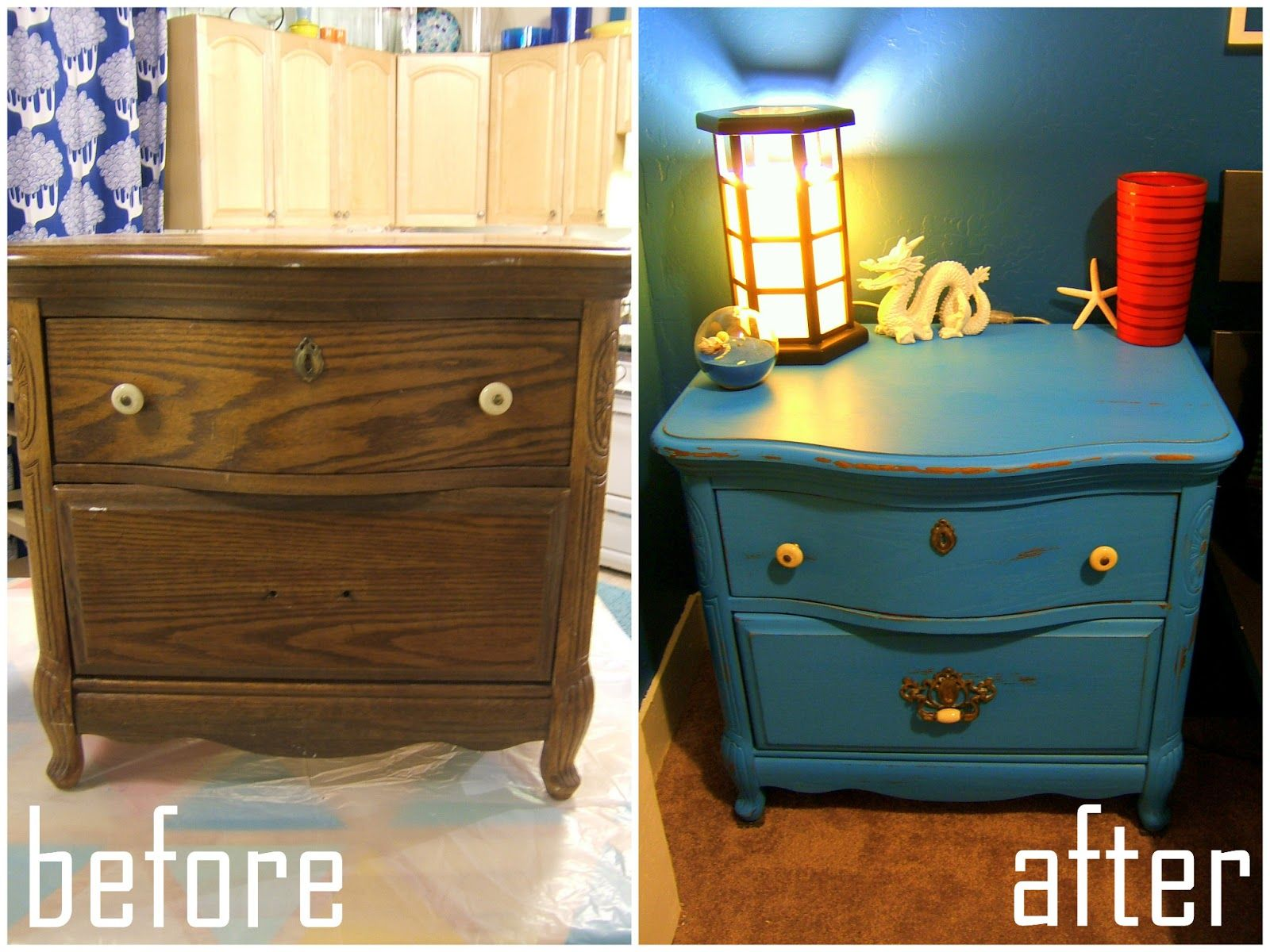 Gotta try chalk paint How To Cyan Chalk Paint Nightstand