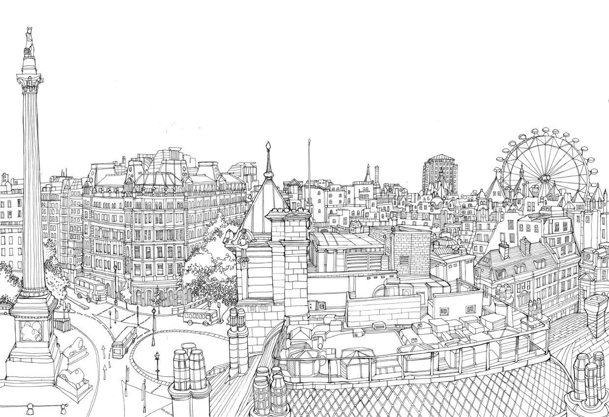 Trafalgar Square Panorama Stadstekening Londen Illustratie Dingen Om Te Tekenen