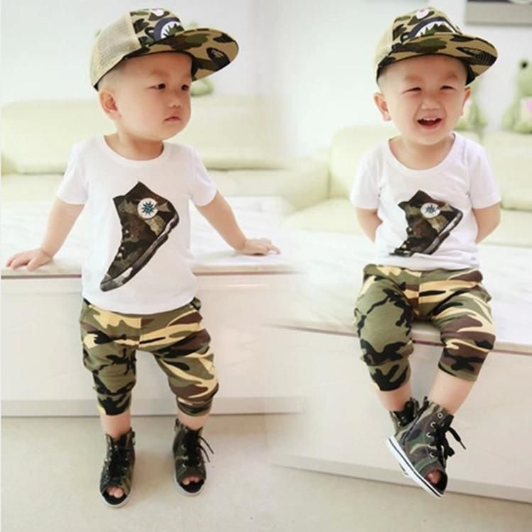 f07851b55fa0b Summer Childrens Outfits Sets Baby Kids Suit Cute Cartoon Baby Boys  Clothing Childrens Short Sleeves Camouflage Clothing 100% Cotton Qqt05 1  From ...