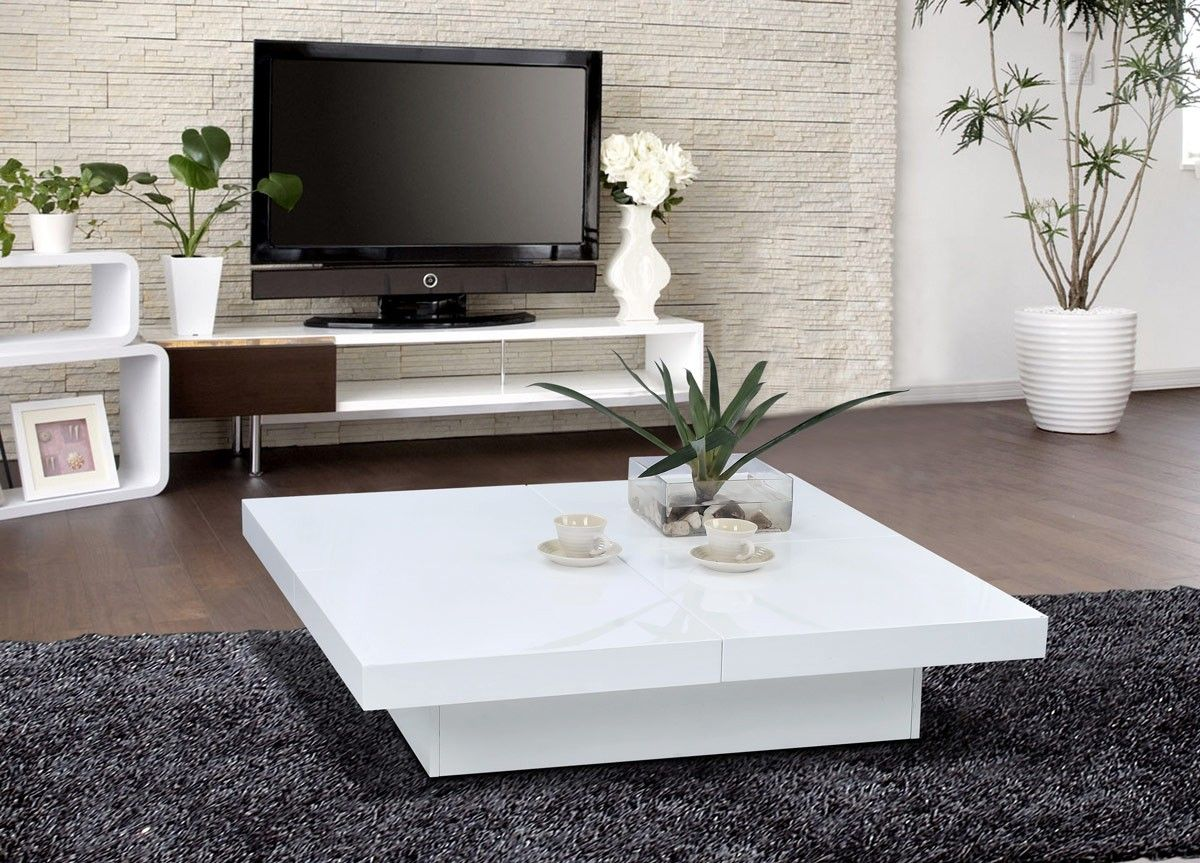 1005c - modern white lacquer coffee table - la furniture | living