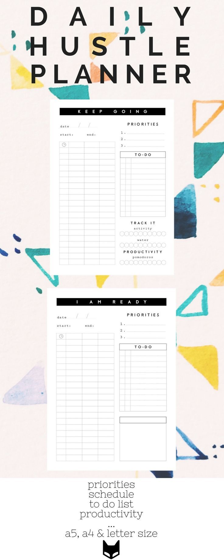 Daily Hustle Planner, Girl boss Daily Planner Pages, Business ...