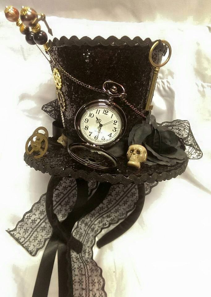 ed0d015944230 Steampunk Time Halloween Gothic Cosplay Black Mini Top Hat Real Pocket  Watch Clocks Wheels Keys Skulls