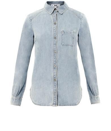 $258, Light Blue Denim Shirt: Paige Denim Eden Denim Shirt. Sold by MATCHESFASHION.COM. Click for more info: https://lookastic.com/women/shop_items/13812/redirect