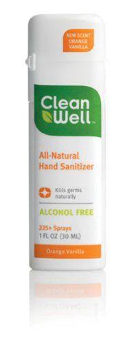 CleanWell Natural Hand Sanitizer 1 oz Spray Orange Vanilla ...