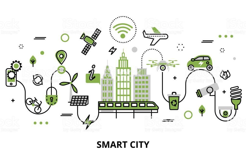 Modern Flat Line Design Concept Of Smart City Technologies Of