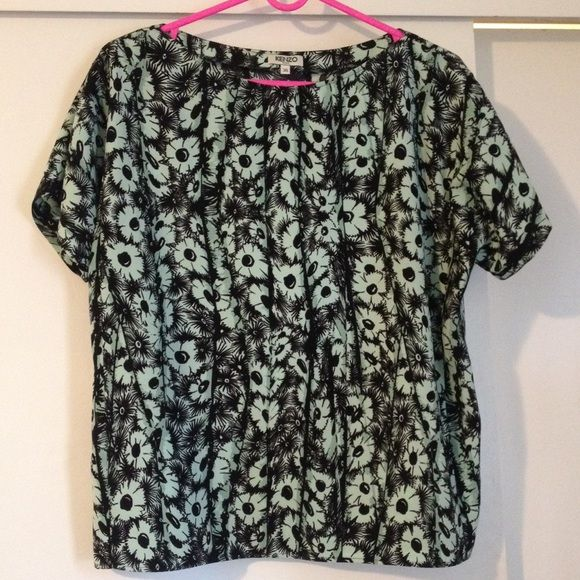 Kenzo top Adorable seafoam green and black floral top. Boat neck, oversized. Polyester, like new. Size 38 or small, but oversized and can fit medium/large well too. NO TRADES. Price is firm Kenzo Tops Blouses