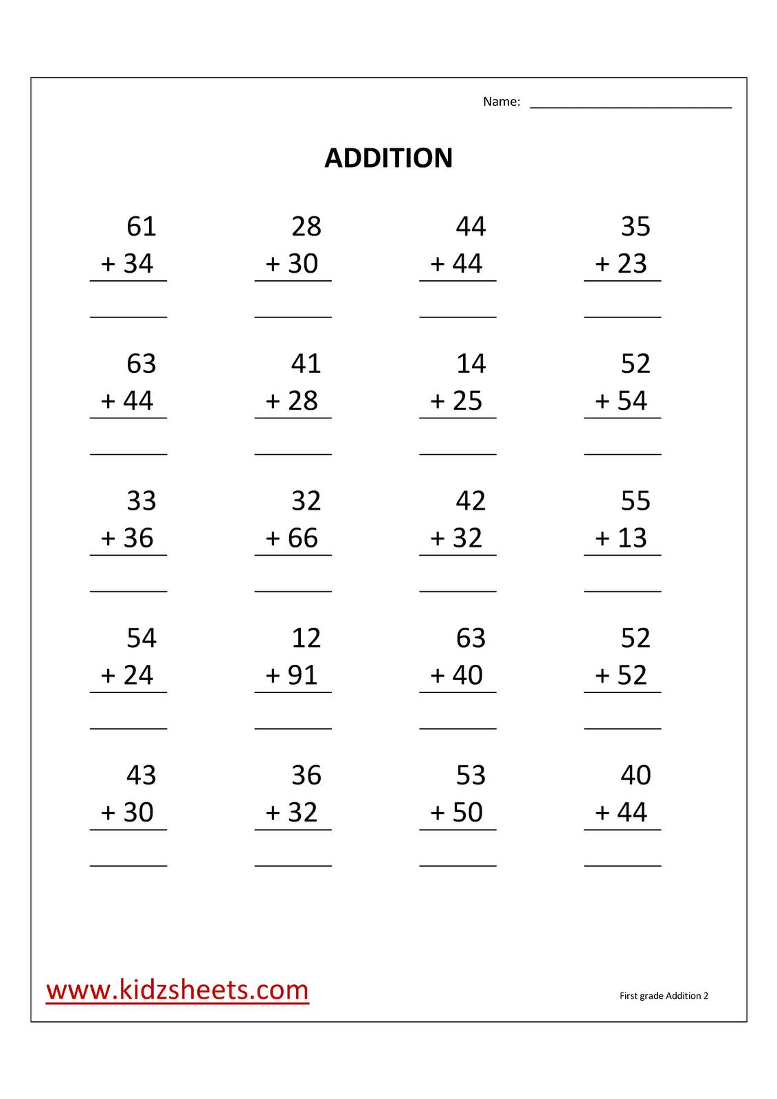 2 2nd Grade Math Worksheets 2 Digit Addition First Grade