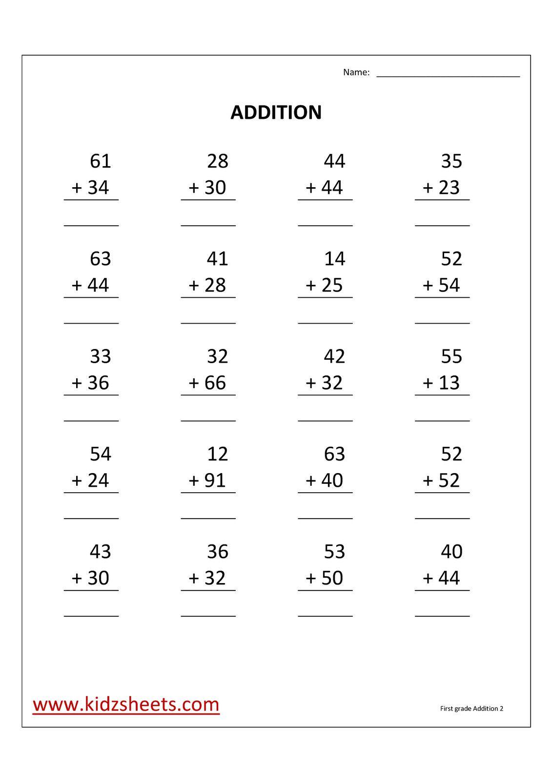 2 2nd Grade Math Worksheets 2 Digit Addition First Grade
