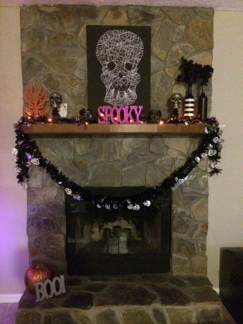 Halloween mantle is done for dollars halloween mantle