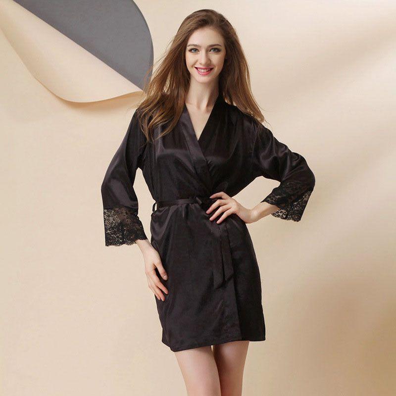 bc7da612dc Sexy Women s Plus Size Silk Warm Wedding Satin Robe Lace Sheer Lingerie  Dress Nightgown Bathrobe Kimono Silk Gowns 2016 Women