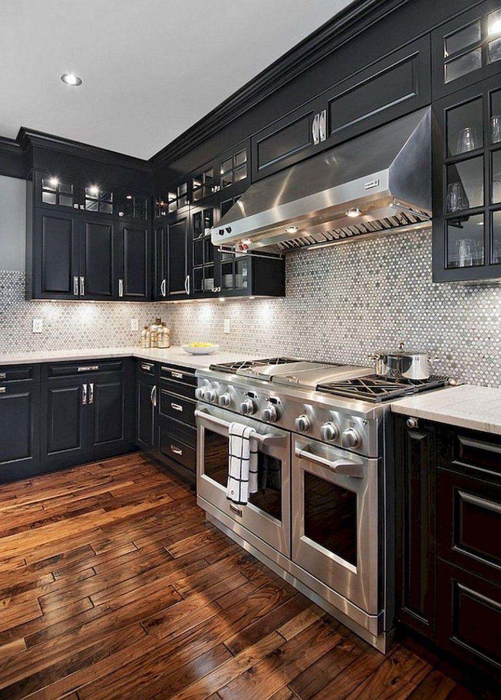 20 Elegant Black Kitchen Design Ideas You Need To Try Custom Kitchen Cabinets Black Kitchen Cabinets Interior Design Kitchen