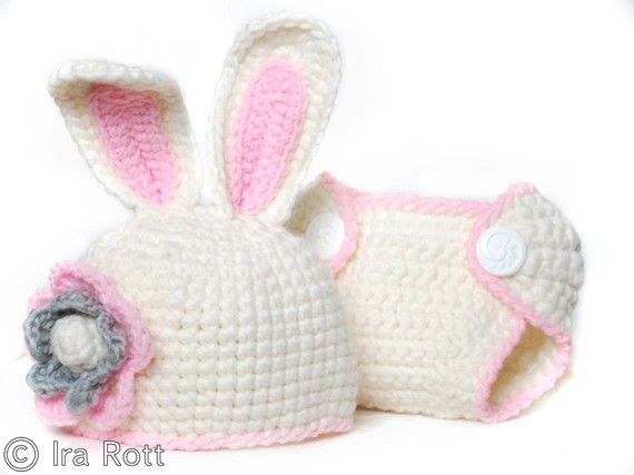 Handmade Crocheted Easter Bunny Rabbit Hat And Diaper Cover Hats