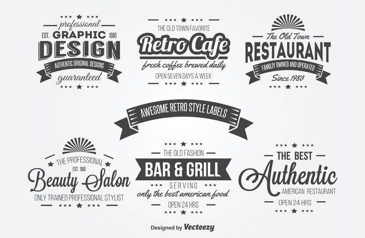 10 Free Vintage Logo Badge Template Collections Vintage Logo Retro Typography Restaurant Logo Design