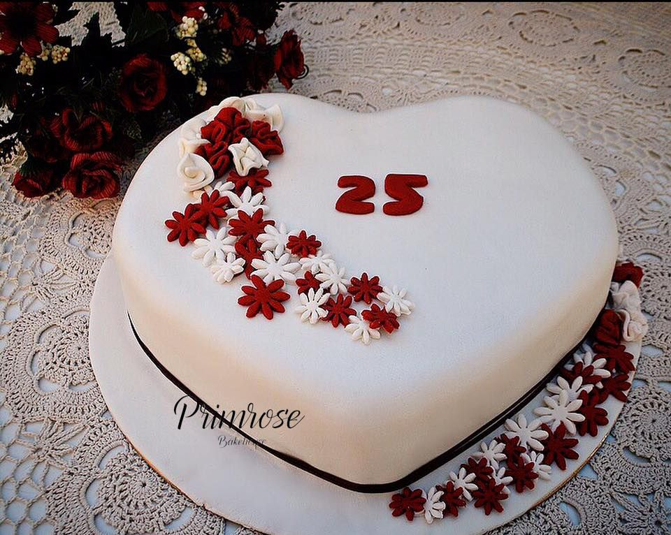 Heart Shaped 25th Anniversary Cake Red And White Flowers