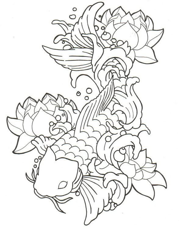 Koi fish drawings how to draw a koi tattoo for Small coy fish