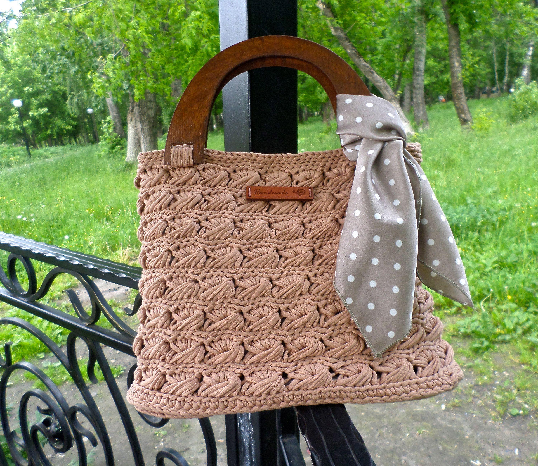 Summer Crochet Yarn T Shirt Handbag With Wooden Handles Crochet Boho Tote Bag Shopper Bag Beach Bag Boho Tote Bag Summer Crochet Crochet Market Bag