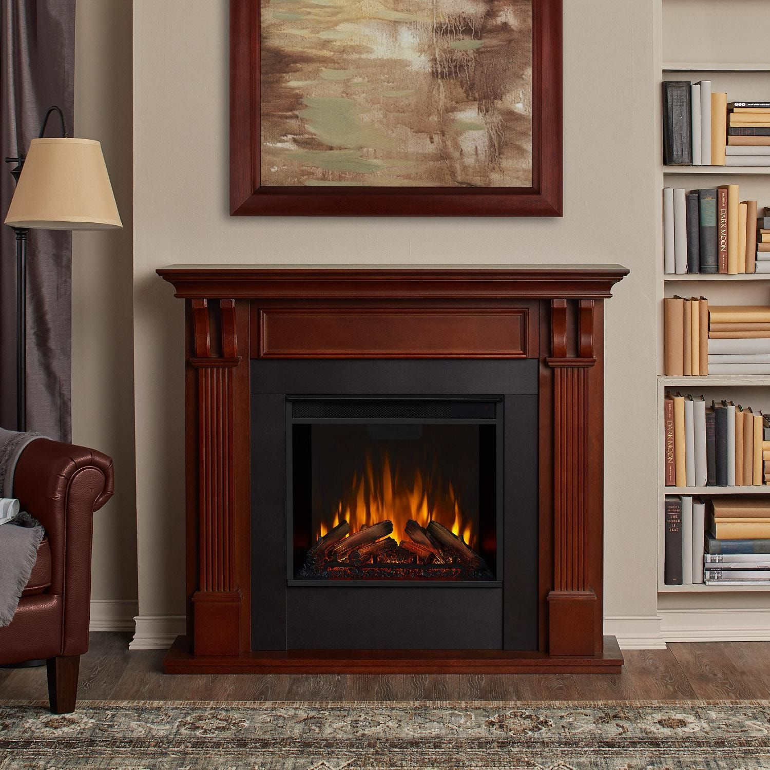 Real Flame 7100e M Ashley 48 Inch Electric Fireplace With Mantel Mahogany Bbqguys In 2021 Electric Fireplace Electric Fireplace With Mantel Fireplace