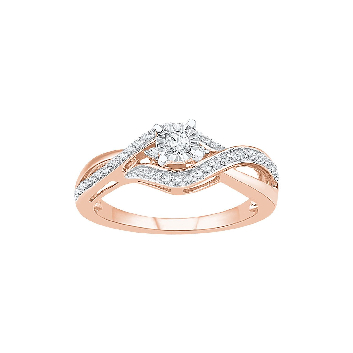 1 4 Ct Tw Diamond Promise Ring In 10k Rose Gold Engagement Ring White Gold