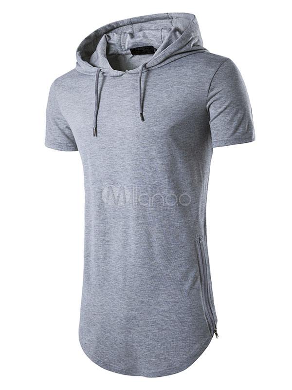 Cool T Shirt Aus Gemischten Baumwollen Mit Kapuze Und Kurzen Armeln Fur Alltag Im Casualen Stil Regular Fit Fur Herren In 2020 Herren Sommerstil T Shirt Shirts