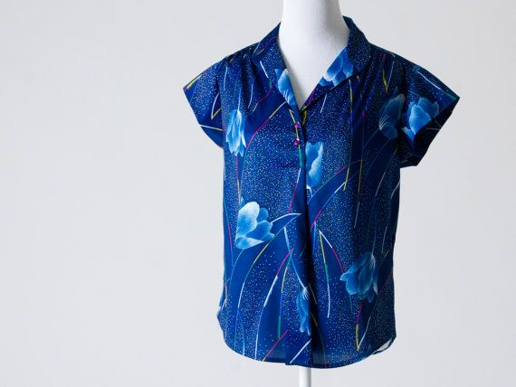 Super Cute Vintage Blouse- Navy Blue with Abstract Floral Pattern in Multi Color on Etsy, $25.00