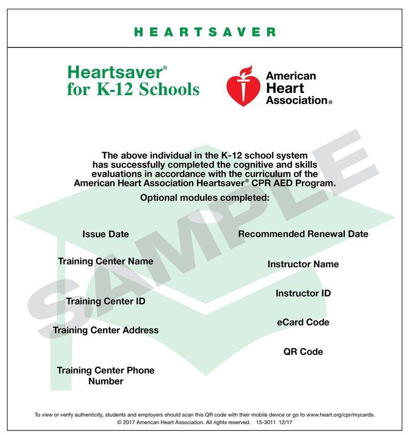 Heartsaver for k12 schools school system training