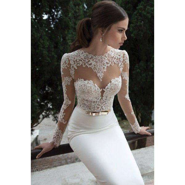 f8e80904aa6 Open Back Satin Mermaid Wedding Dress With Lace Long Sleeves - Wedding  Dresses - Wedding Dresses