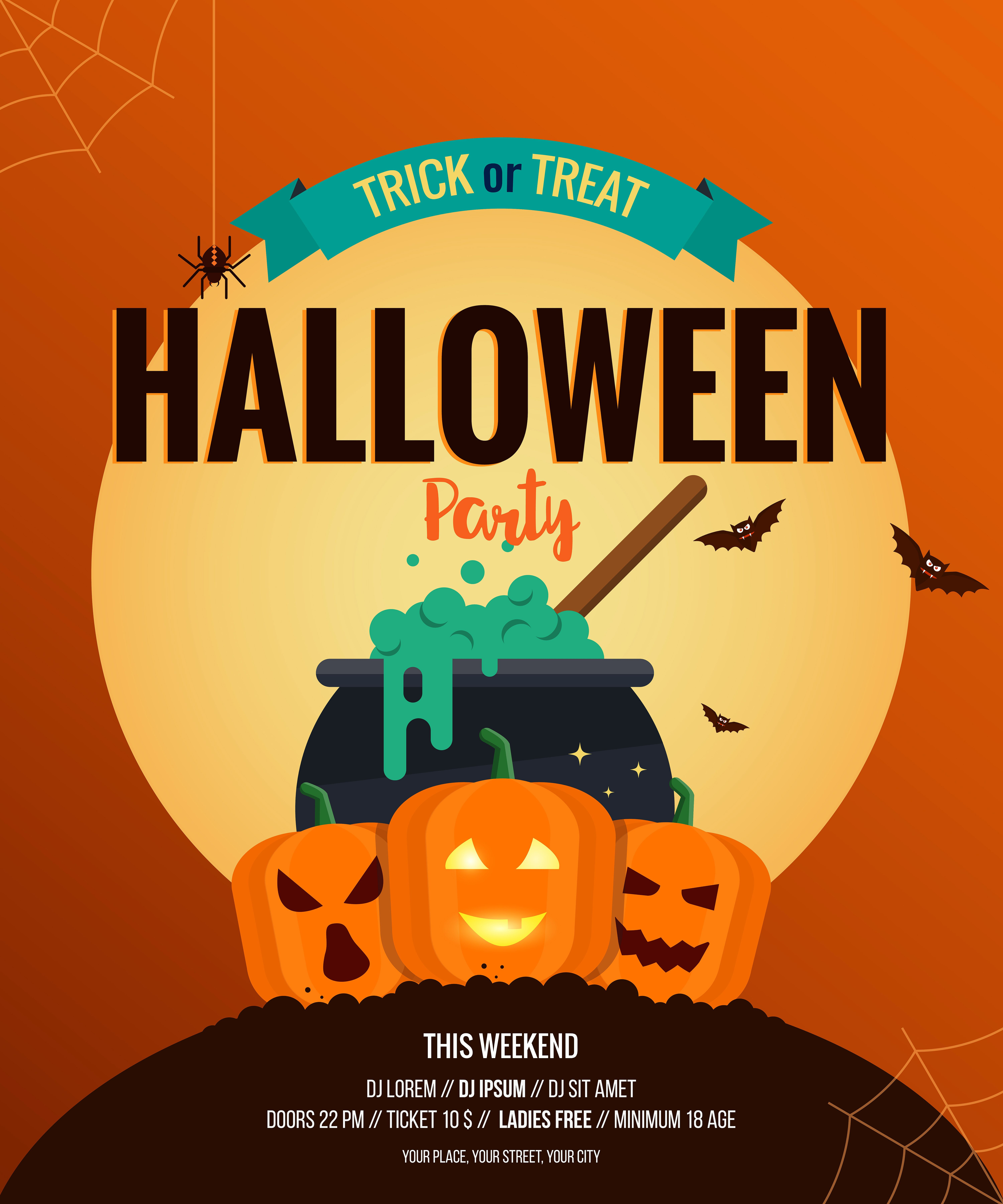 Two Halloween posters Flat design (With images