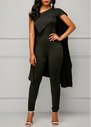 High Waist One Shoulder Black Cape Jumpsuit on sale only US 36.32 now, buy  cheap c5be94962c59