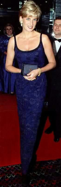 """February 12, 1997: Diana, Princess of Wales at the London premiere of """"Love & War""""."""