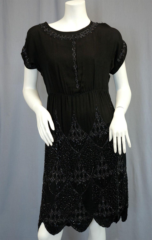 Antique vintage us flapper dress silvery beaded black silk