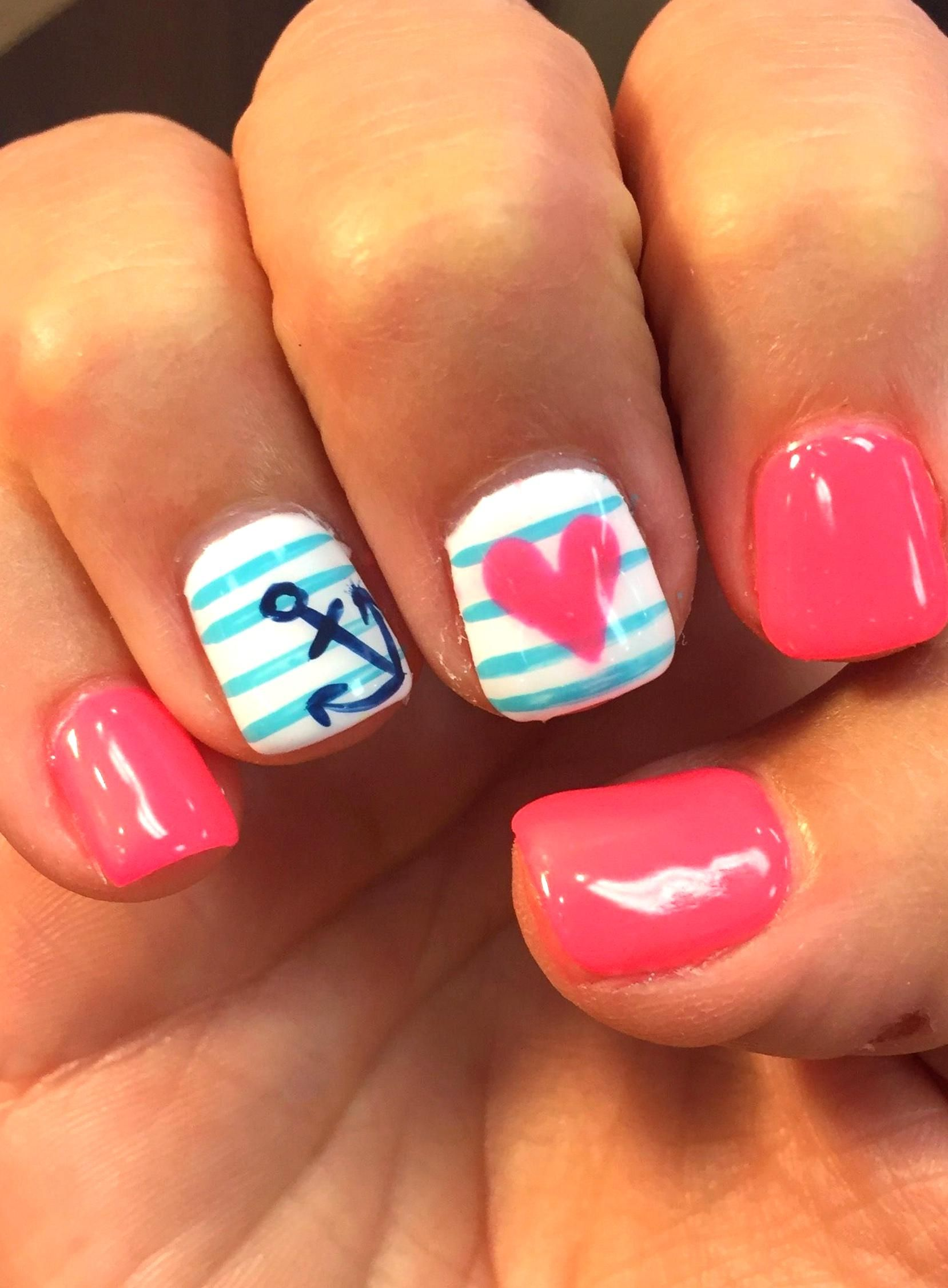 Gel Nail Ideas For Summer Fresh Summer Nails Design Anchor Pink June Gel Nail Mani Heart In 2020 Nail Designs Summer Cute Summer Nails Nail Designs Summer Gel