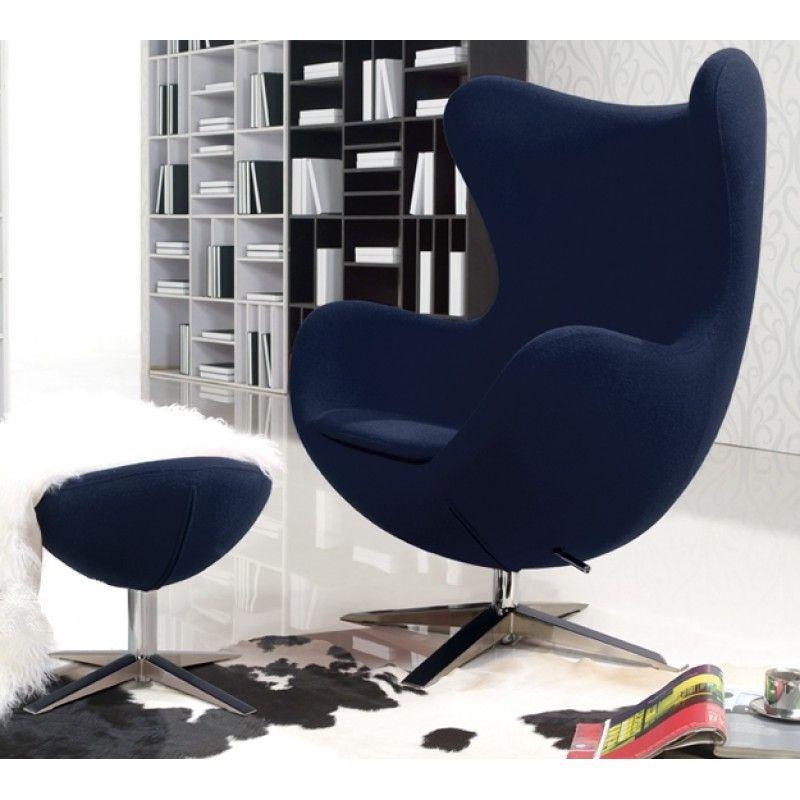 Dark blue wool fabric Egg chair reproduction + ottoman