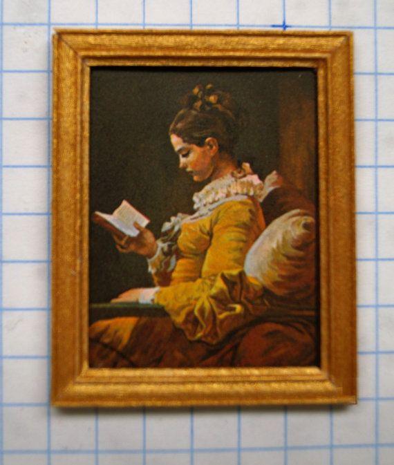 """Dollhouse Framed Stamp; Fragonard, """"a Young Woman Reading"""" Dollhouse Framed Stamp; Fragonard, """"A Young Woman Reading"""" Woman Jeans a young woman reading jean honoré fragonard 1776"""