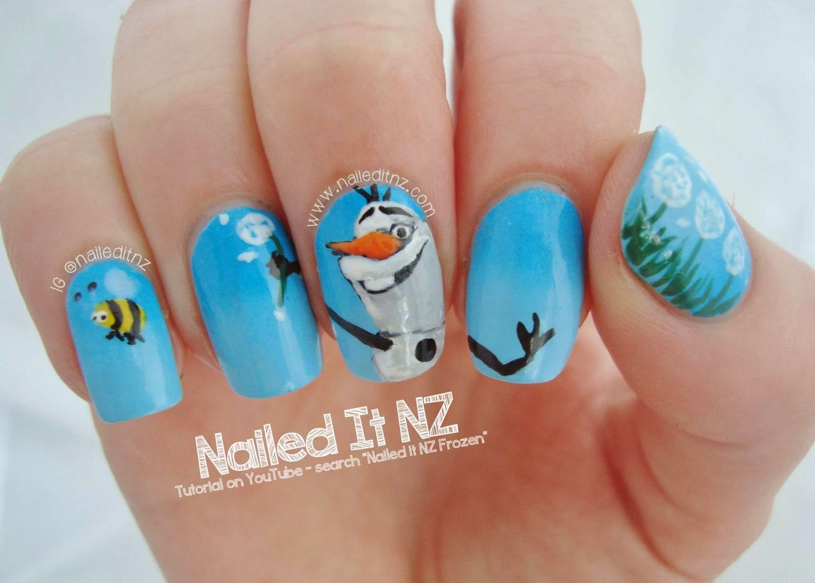 Disney Nail Art #5 - Frozen! (Nailed It NZ) | Disney nails art ...