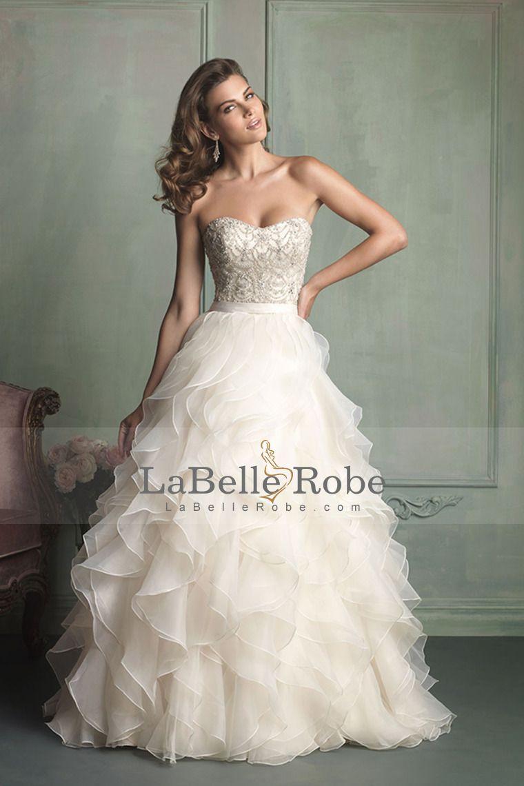 2014 Robe de mariée bustier robe de bal Avec volants jupe d'organza de train de cour