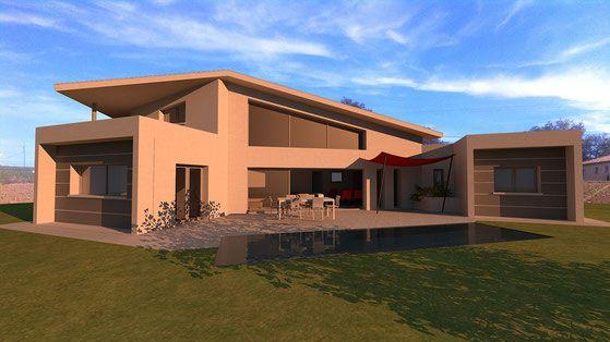 Maison contemporaine d\'architecte à toits zinc et casquettes béton ...