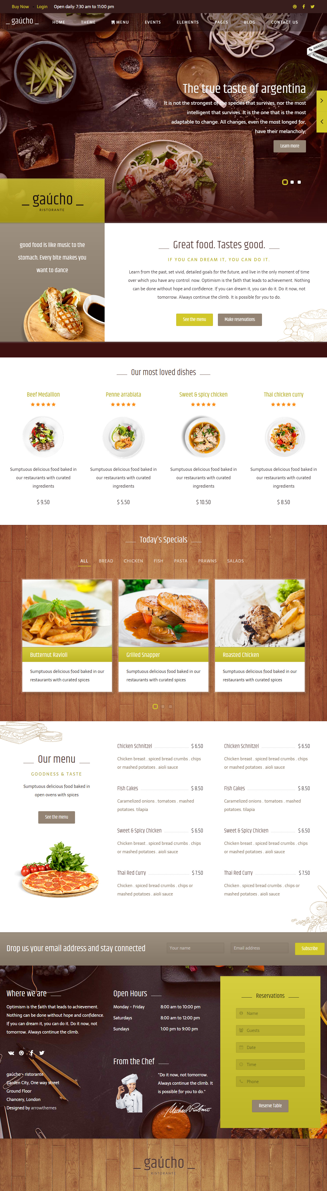 Gaucho is Premium full Responsive Retina Parallax Food HTML5 ...