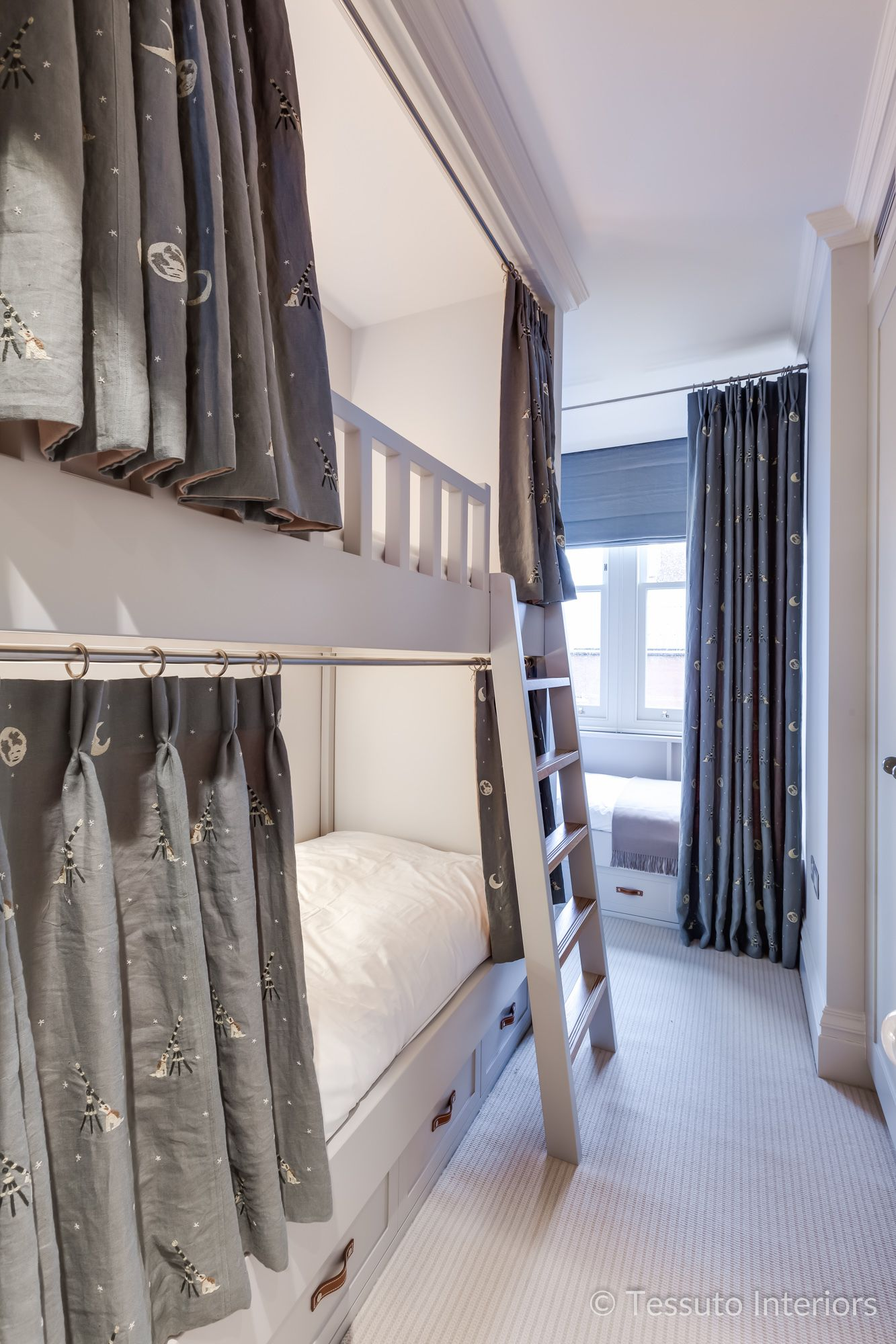 Tessuto Interiors Luxury Contemporary Children Bunk Bed Bespoke Joinery Bunk Beds Kid Beds Kids Bunk Beds