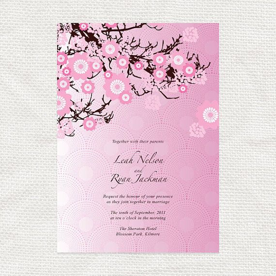 cherry blossom wedding invitation template printable diy download budget friendly bridal. Black Bedroom Furniture Sets. Home Design Ideas