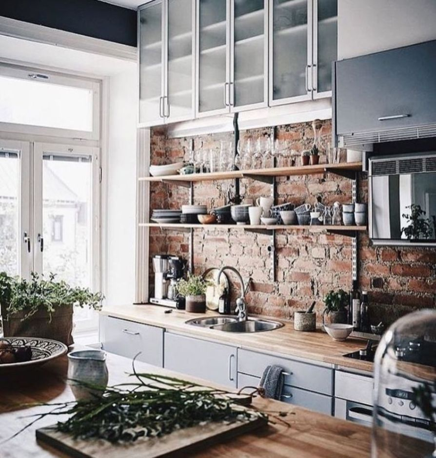 amazing kitchens design ideas with a brick wall 34 bucatarie in rh pinterest com