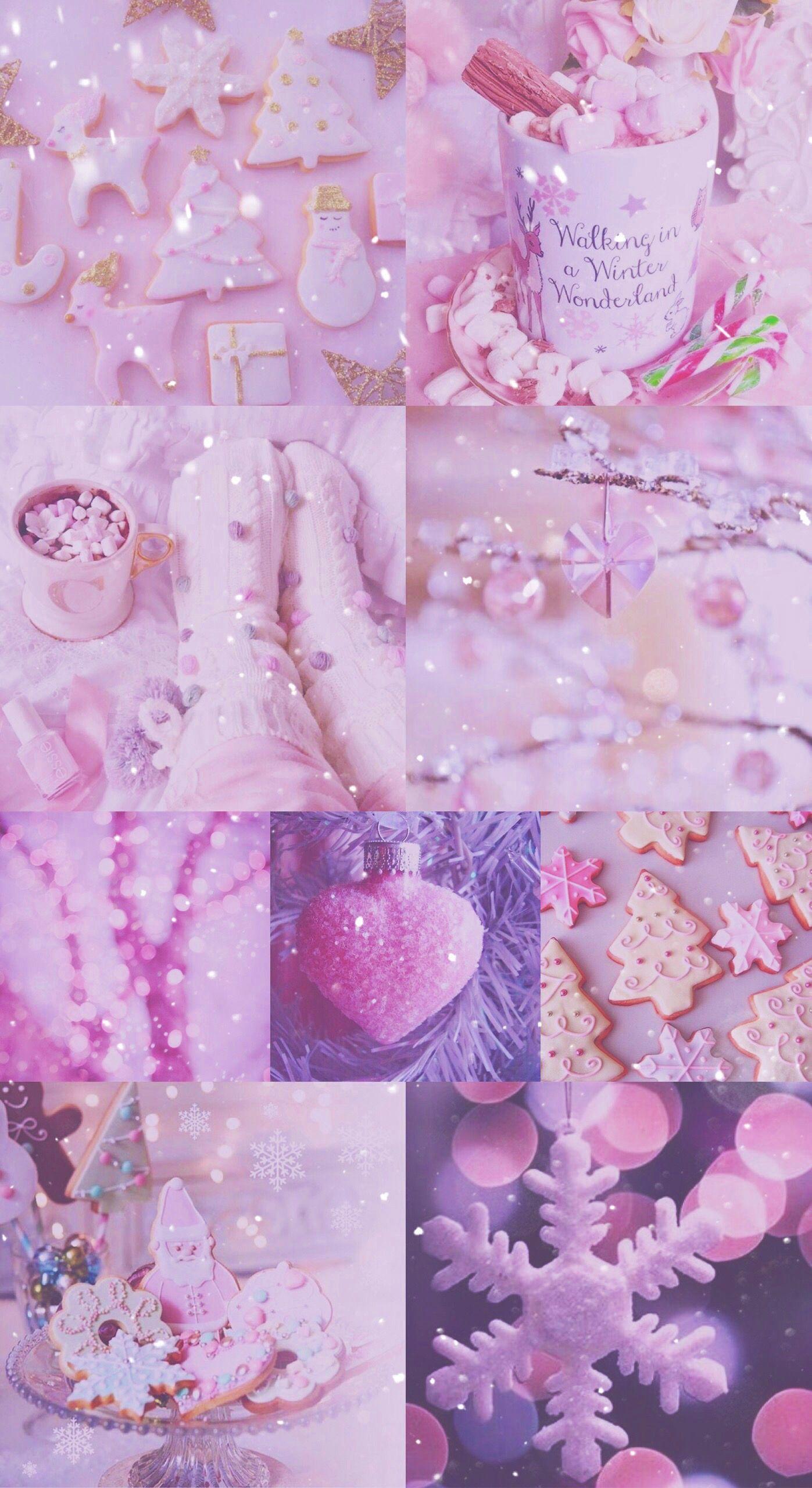 Xmas Christmas Pink Pretty Sparkly Glitter White IPhone Purple WallpaperWinter WallpaperMobile