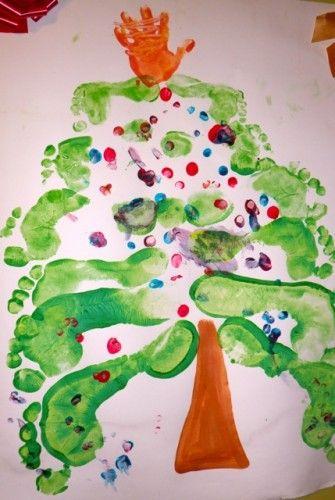kids #craft #christmas #family footprint tree Xmas Pinterest